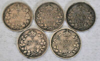 5 CANADA COINS EDWARD VII SILVER 5 CENTS 1902 1904 1905 1907