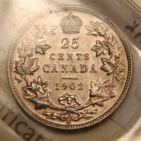 1902H CANADA SILVER 25 CENTS. AU 50 ICCS. AMAZING LUSTRE. UNDERGRADED. OLD CERT.