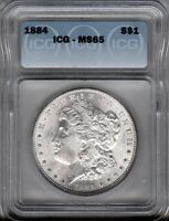 1884-P - MORGAN SILVER $1  ICG MINT STATE 65 - FLASHY LUSTRE - CLEAN CHEEK