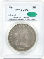 1799 $1 PCGS/CAC VF 20 DRAPED BUST SILVER DOLLAR