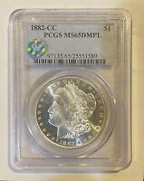 1882 CC MORGAN SILVER DOLLAR PCGS MINT STATE 65 DMPL SIGHT WHITE
