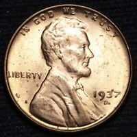 1937-D LINCOLN WHEAT SMALL CENT PENNY CHOICE BU RED SHIPS FREE E627 SE