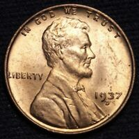 1937-D LINCOLN WHEAT SMALL CENT PENNY CHOICE BU RED SHIPS FREE E628 SE