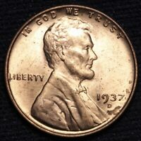 1937-D LINCOLN WHEAT SMALL CENT PENNY CHOICE BU RED SHIPS FREE E629 SE
