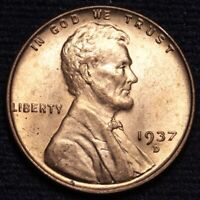 1937-D LINCOLN WHEAT SMALL CENT PENNY CHOICE BU RED SHIPS FREE E631 SE