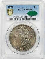 1904 $1 PCGS/CAC MINT STATE 65 TONED MORGAN SILVER DOLLAR