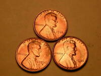 1936-P-D-S CHOICE BU /UNCIRCULATED RED LINCOLN CENT SET OF 3