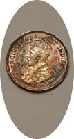 1911 SILVER 5 FIVE CENTS OF CANADA CHOICE BU RAINBOW COLORFUL TONES