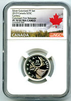 2019 CANADA 25 CENT SILVER COLORED PROOF NGC PF70 UCAM QUART