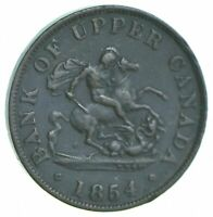 BETTER DATE   1854 BANK OF UPPER CANADA 1/2 PENNY  075