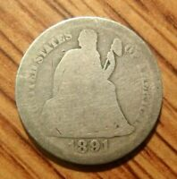 1891 SEATED LIBERTY SILVER DIME  WELL CIRCULATED COIN 1
