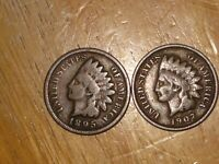 US 1895 AND 1907 INDIAN HEAD SMALL CENT COIN LOT