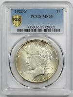 1922-S $1 PCGS/GOLD SHIELD MINT STATE 65 PEACE DOLLAR