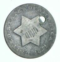 1851 SILVER THREE CENT PIECE   TRIME   HOLED COIN COLLECTION
