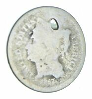 1867 NICKEL THREE CENT PIECE   HOLED COIN COLLECTION  799