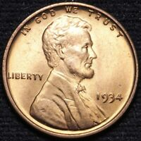 1934 LINCOLN WHEAT CENT PENNY CHOICE BU RED SHIPS FREE E850 UP