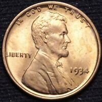 1934 LINCOLN WHEAT CENT PENNY CHOICE BU RED SHIPS FREE E851 KM