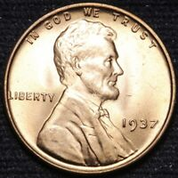 1937 LINCOLN WHEAT CENT PENNY CHOICE BU RED SHIPS FREE E896 AN