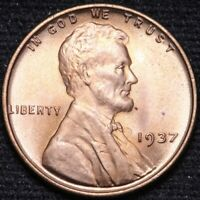 1937 LINCOLN WHEAT CENT PENNY CHOICE BU RED SHIPS FREE E899 YE