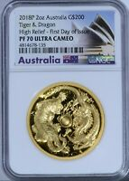 2018 AUSTRALIA PR70 DRAGON AND TIGER 2OZ GOLD PROOF HIGH RELIEF COIN 100 OF 500