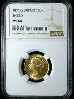 GREAT BRITAIN 1871 SHIELD GOLD SOVEREIGN  NGC MS 64  BLAZER INVESTMENT QUALITY