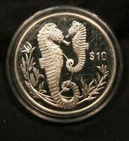2017 BRITISH VIRGIN ISLANDS $10 SILVER SEAHORSE PROOF COIN 28.3G STERLING SILVER