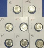1946 CHOICE UNCIRCULATED SILVER ROOSEVELT DIMES SET OF 8 ASS