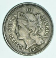 1866 NICKEL THREE CENT PIECE   CHARLES COIN COLLECTION  498