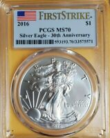 2016 PCGS MS70 FIRST STRIKE SILVER EAGLE 30TH ANNIVERSARY LE