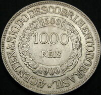 BRAZIL 1000 REIS 1900   SILVER    ANNIVERSARY OF THE DISCOVE