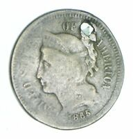 1865 NICKEL THREE CENT PIECE   HOLED COIN COLLECTION  827