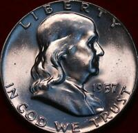 UNCIRCULATED 1957 PHILADELPHIA MINT SILVER FRANKLIN HALF
