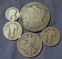 LOT OF 5 US SILVER COINS 1897 O MORGAN SILVER DOLLAR AS IS S