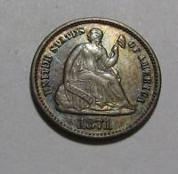 1871 SEATED LIBERTY HALF DIME   AU  CONDITION / NICE TONING