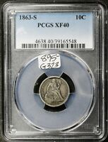 1863-S SEATED LIBERTY DIME.  CIVIL WAR ERA.  IN PCGS HOLDER.  EXTRA FINE 40.  G323