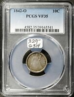 1842-O SEATED LIBERTY DIME.  IN PCGS HOLDER.  VF35.  G314