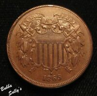1865 TWO CENT PIECE <> ABOUT UNCIRCULATED