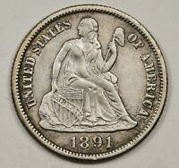 1891-S SEATED LIBERTY DIME.  NATURAL X.F.  148650