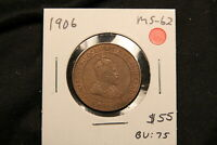 1906 CANADA LARGE CENT MS 62 TRACE RED. KING EDWARD VII.