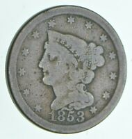 1853 BRAIDED HAIR HALF CENT   WALKER COIN COLLECTION  907