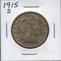1915 S BARBER HALF DOLLAR   ALMOST UNCIRCULATED   90  SILVER