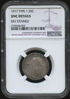 1917 TYPE 1 25 PIECE   NGC CERTIFIED UNC DETAILS   REV STAIN