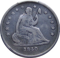 1840 O LIBERTY SEATED QUARTER NO DRAPERY FIRST YEAR NEW ORLEANS ISSUE PCGS F12