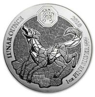 2018 RWANDA DOG LUNAR YEAR 1 OZ .999 SILVER. 50 FRANCS. BU MINT SEALED COIN.