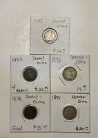 LOT OF 5 SEATED LIBERTY SILVER DIMES 1852 1853 1875 1878 1891