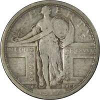 1917 D TYPE 1 25C STANDING LIBERTY SILVER QUARTER COIN F FINE