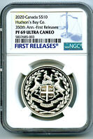 2020 $10 CANADA SILVER 350TH HUDSON'S BAY CO NGC PF69 UCAM P