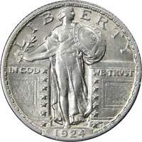 1924 25C STANDING LIBERTY SILVER QUARTER US COIN CHOICE ABOUT UNCIRCULATED