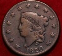 1820 PHILADELPHIA MINT COPPER CORONET HEAD LARGE CENT