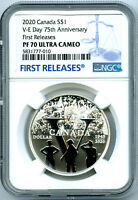 2020 $1 CANADA SILVER DOLLAR 75TH V E VE DAY NGC PF70 UCAM P
